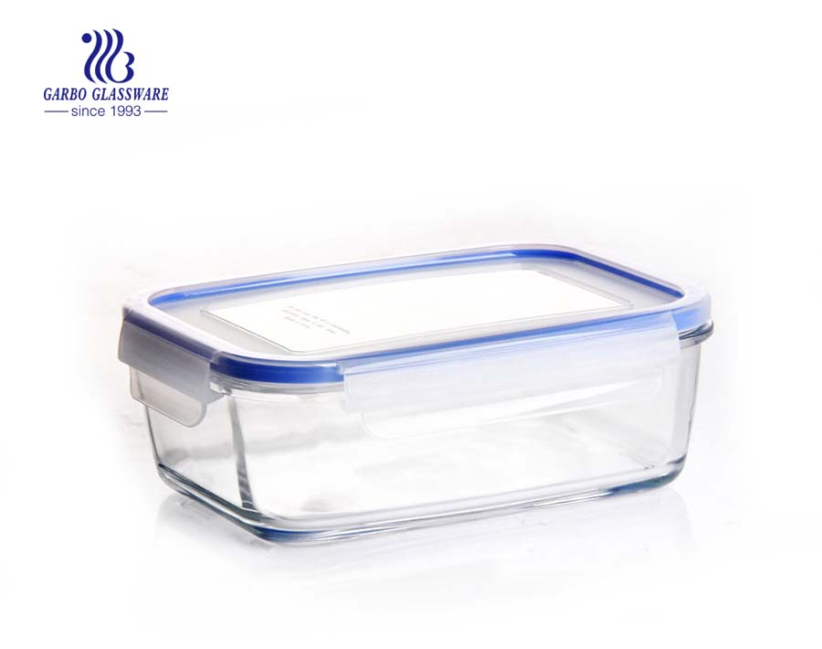 8 inch pyrex rectangle borosilicate glass storage container with blue sealing lid