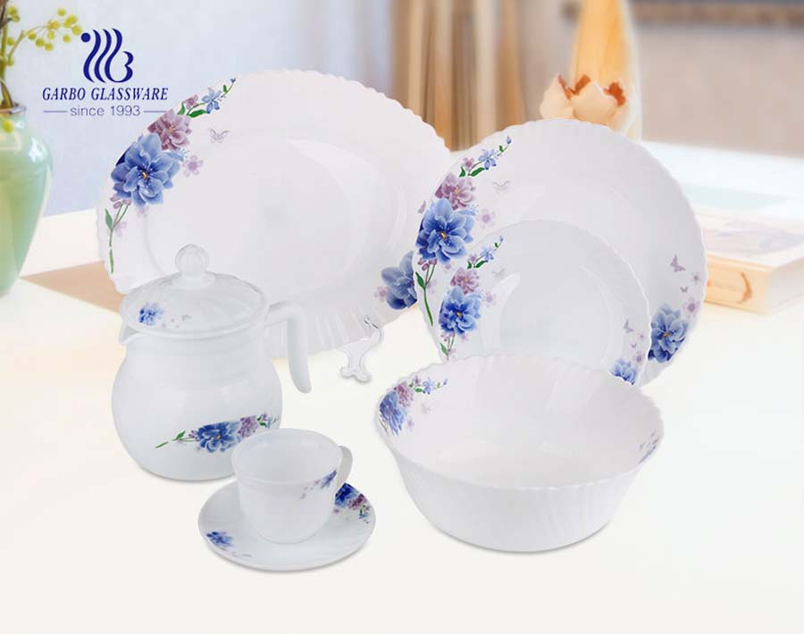Wholesale high quality cheap decal 58pcs opal glass dinner set