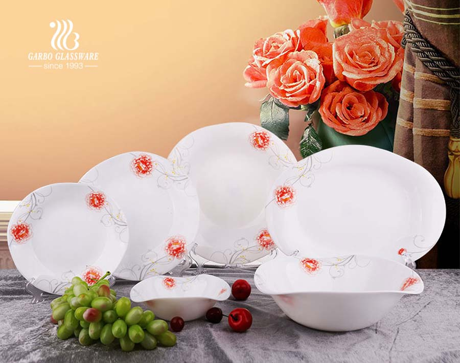 21 Piece Watered Shape Multicolor Decorated Opal Tempered Glass Dinnerware Bowls and Plates Set