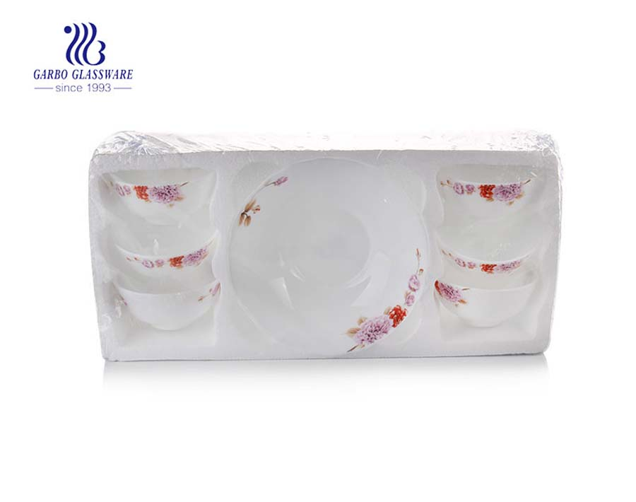 Opal glassware 6pcs white opal glass bowls and 1 plate set in polyfoam packaging