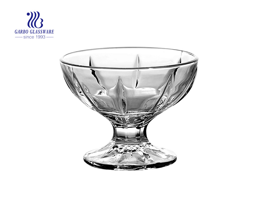 Popular design high quality glass ice cream bowl for dessert