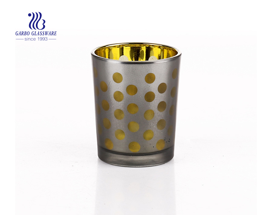 Yellow Round Shaped Glass Candle Holder For Wedding