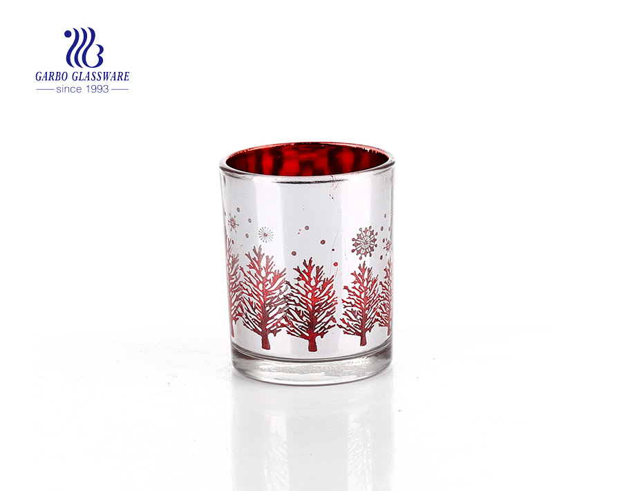 Silver and red  printing logo Glass Candle Holder