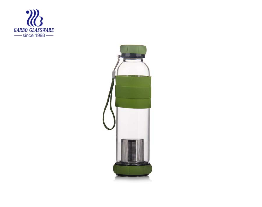 430ml Borosilicate Glass Water Bottle With Filter