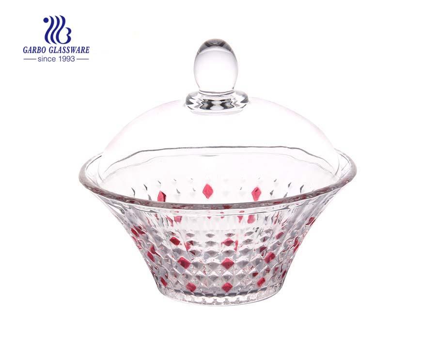 Crystal Food Storage Glass Sugar Bowl Cookie Jar With Lid