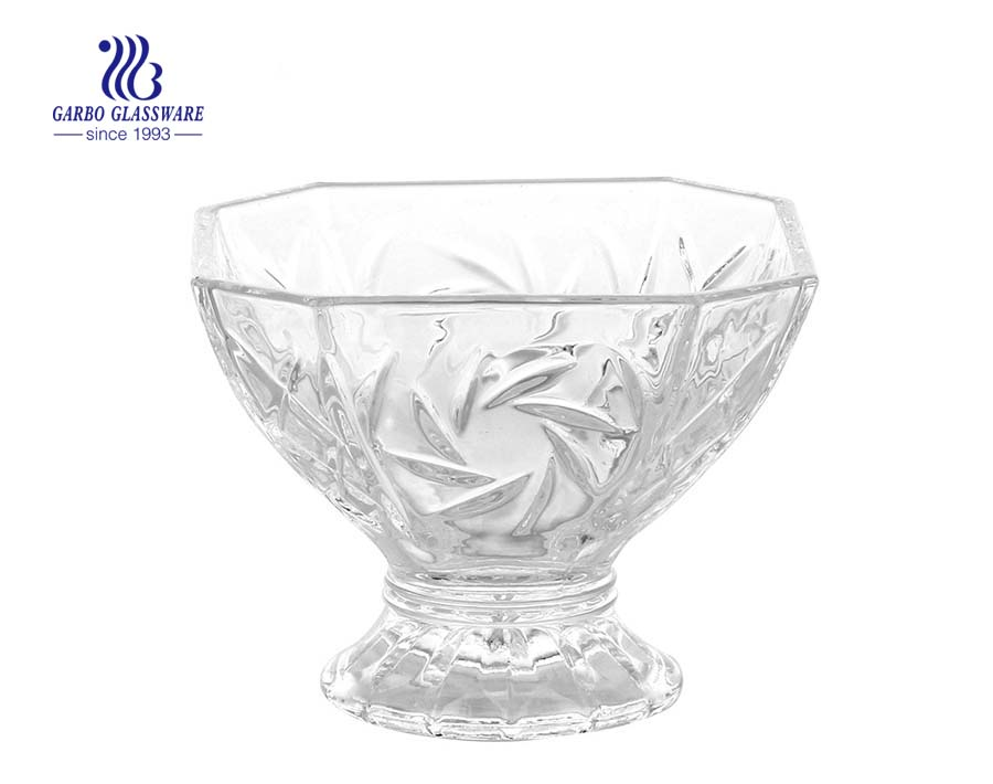 Factory cheap fancy glass ice cream bowl for milkshake