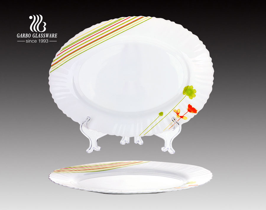 14inch OEM Fancy design decal fish opal glass dinner plates