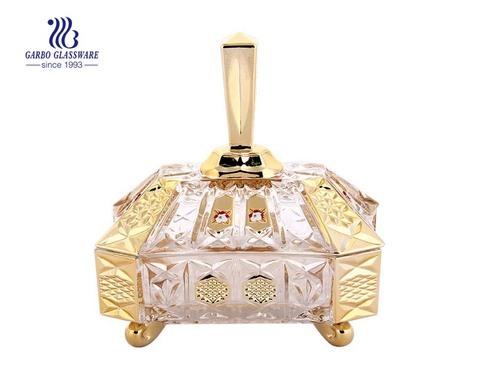 Fasion Candy Pot - Vajilla decorativa para bodas, tarro de vidrio Gloden con tapa de vidrio