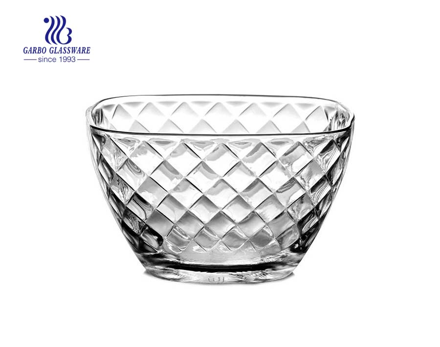 Food grade wholesale square shape glass fruit salad bowl with rhombus pattern