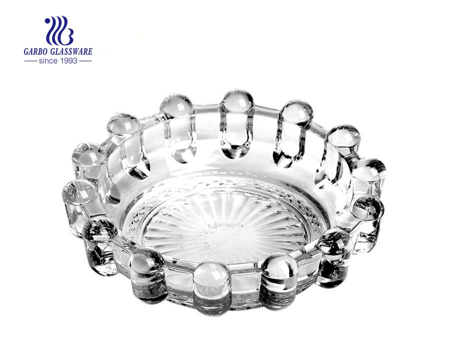 flower design round shape clear glass smoking ashtray