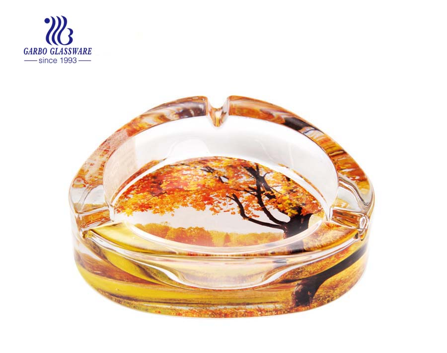 printing maple leaf design glass ashtray for wedding decoration