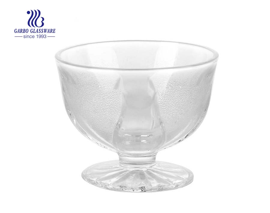 3.6inch Factory engraved fancy design glass ice cream bowl