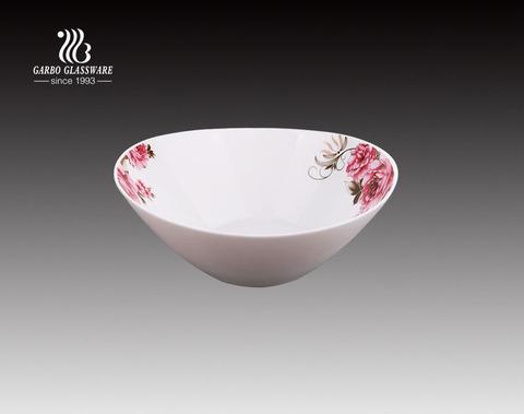10-Zoll-OEM Fancy Dekor Design weiße Opalglas Suppentassen