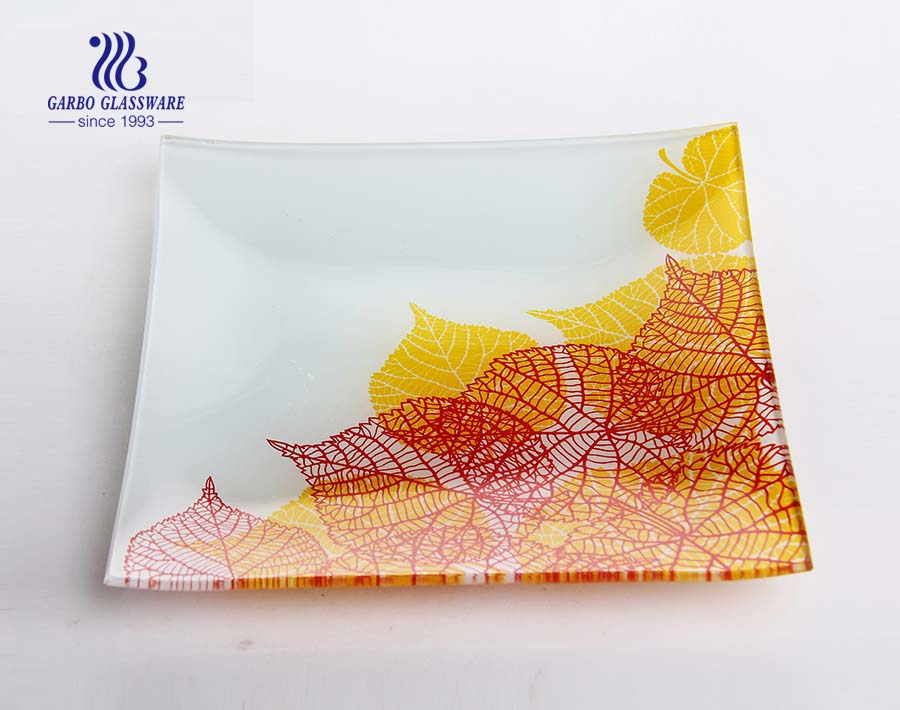 family daily use OEM beautiful decal cheap 9.8inch flat glass plate