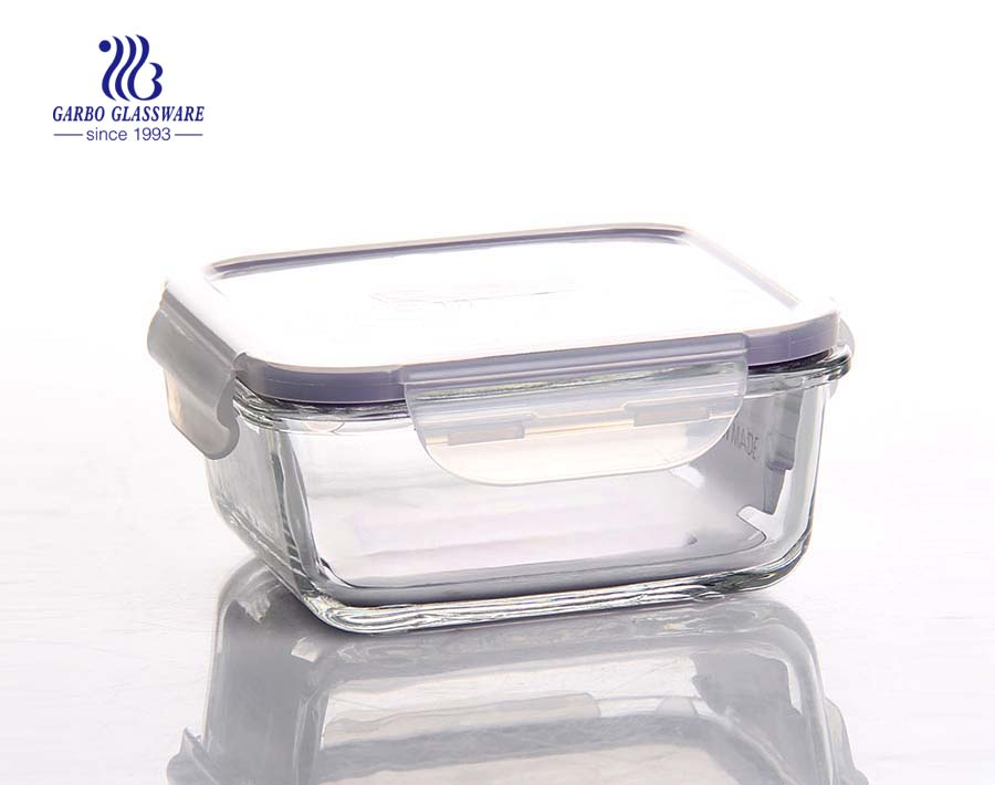 6.8 inch quadrangle amber tempered glass food container with sealed lid 820ml