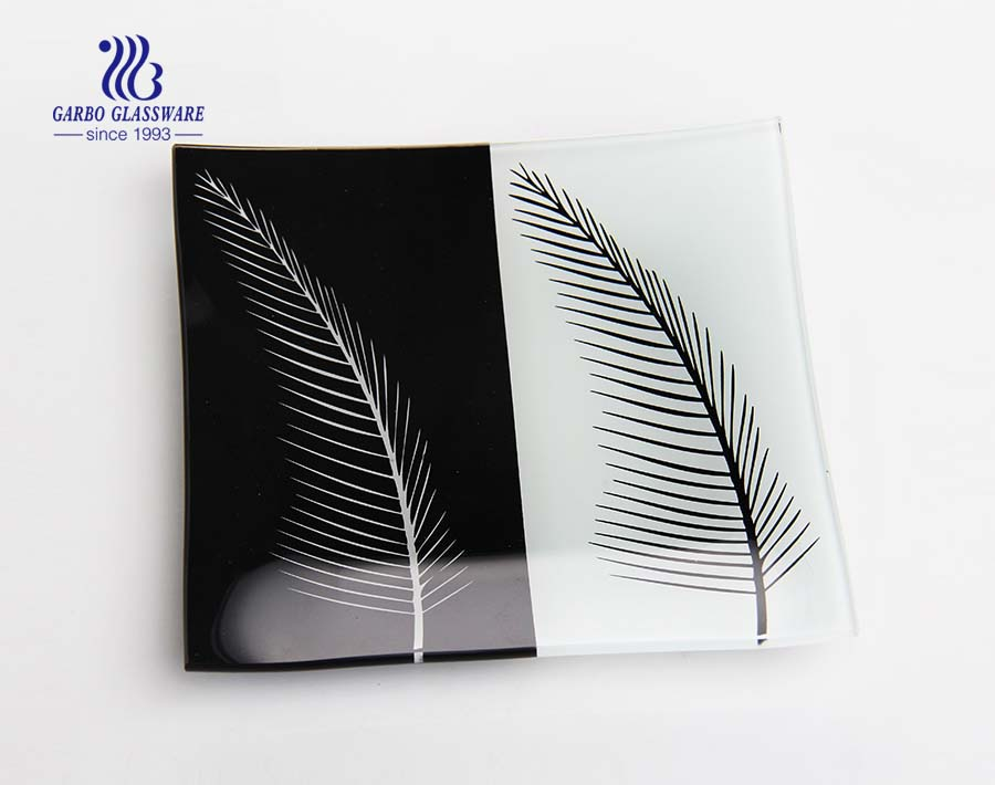 Square flat glass plate 7.2 inch with customize printing