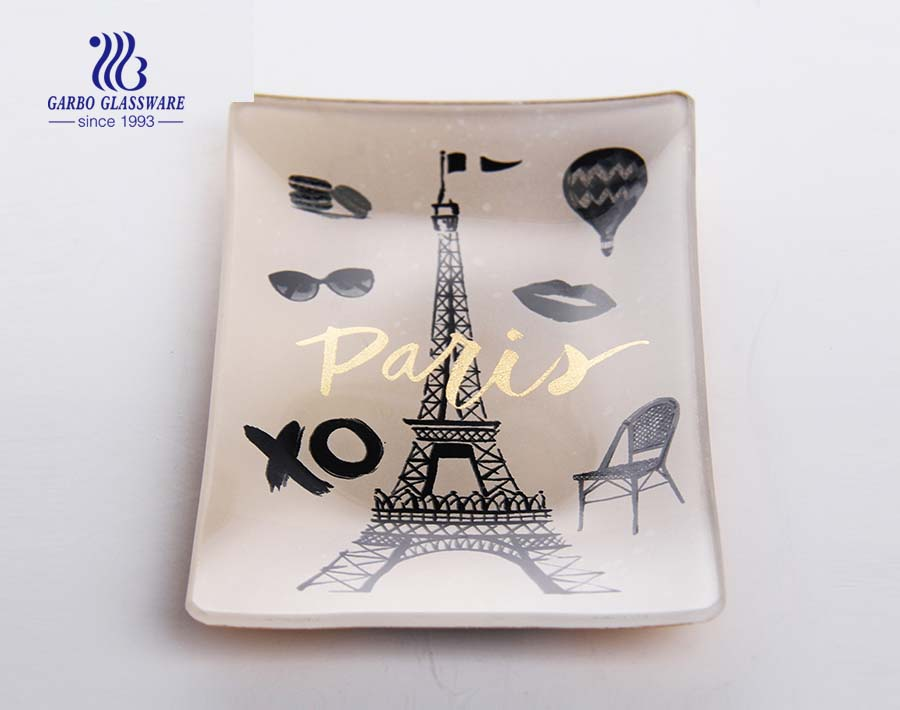 Wholesale high quality souvenir rectangle glass plate with scenic spot printing