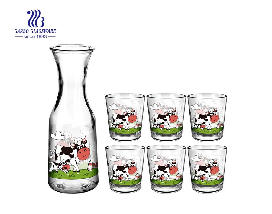 High quality milk bottle 5pcs glass drinking set with animal designs