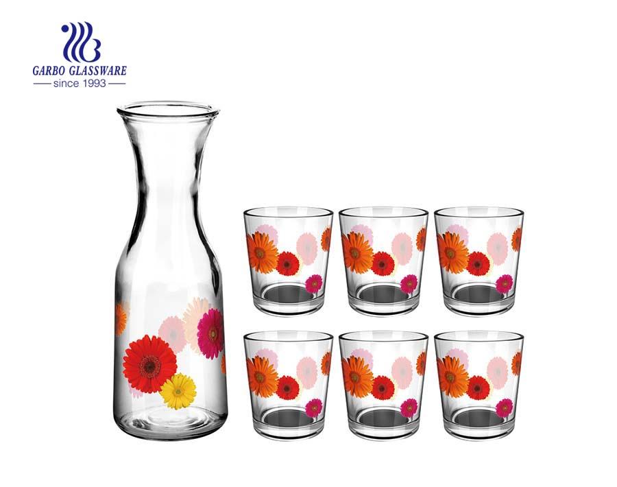 Mutil-impressão bonita copo de 5 peças e jarra de vidro para beber