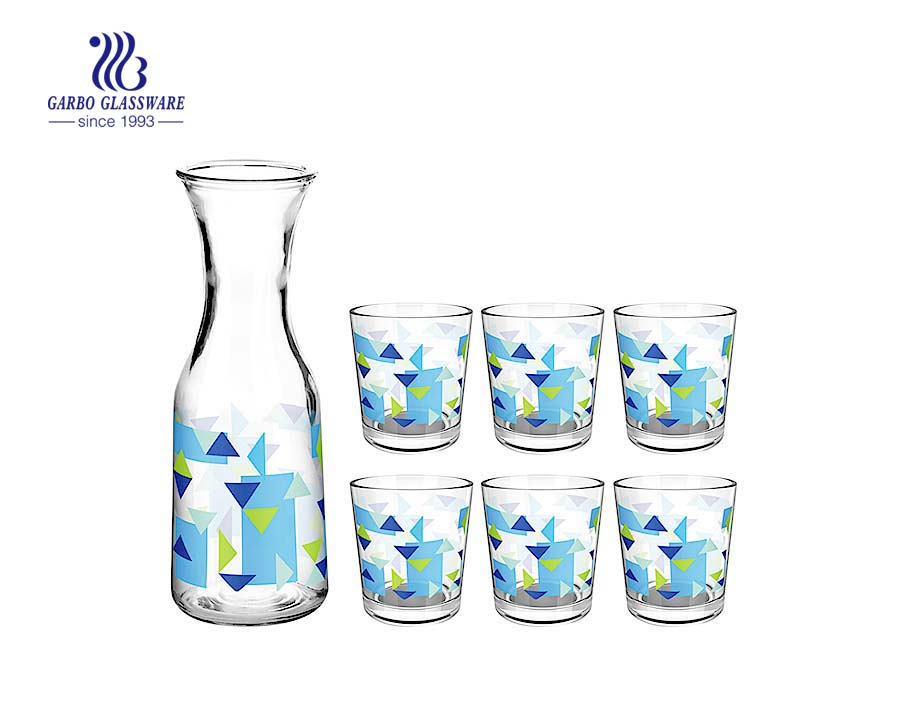 everyday glassware bottle sets customized printing 5pcs drinking set with 1 liter glass bottle and 8oz glass cup