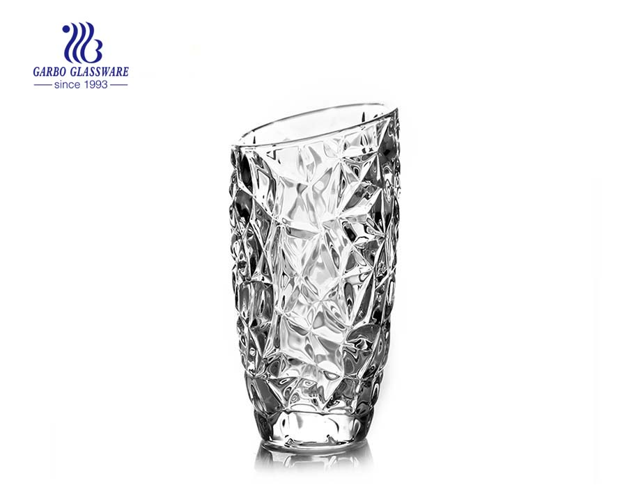 Embossed Clear Transparent Glass Vase Home Decor Flower Vase