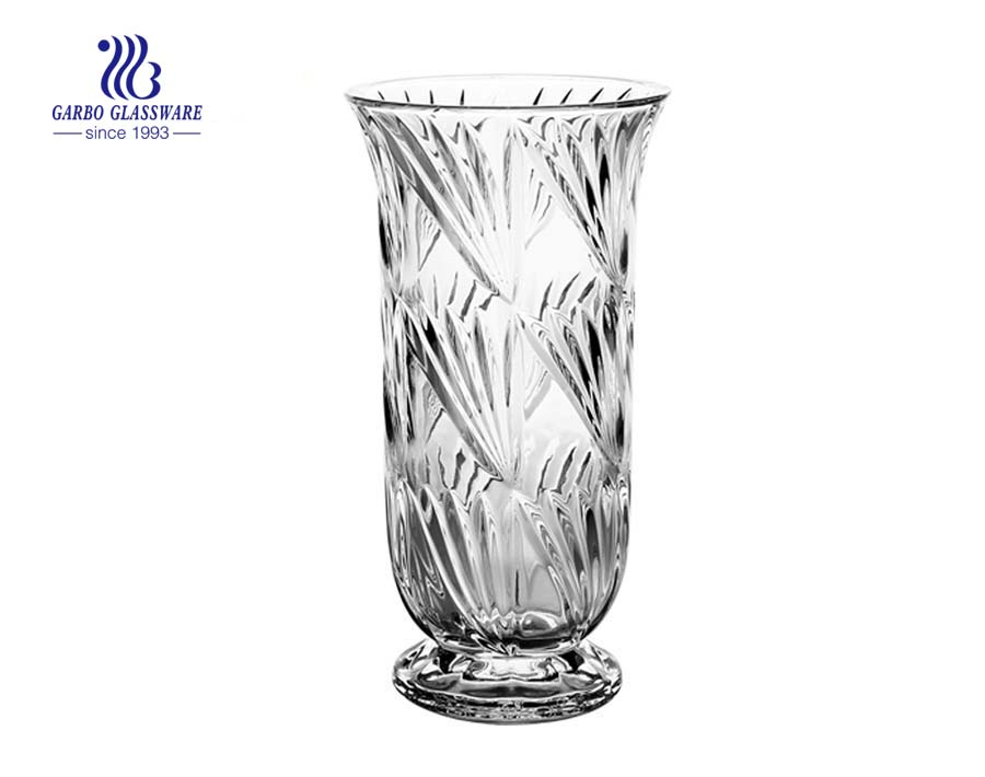 Big Size Embossed Clear Glass Flower Vase
