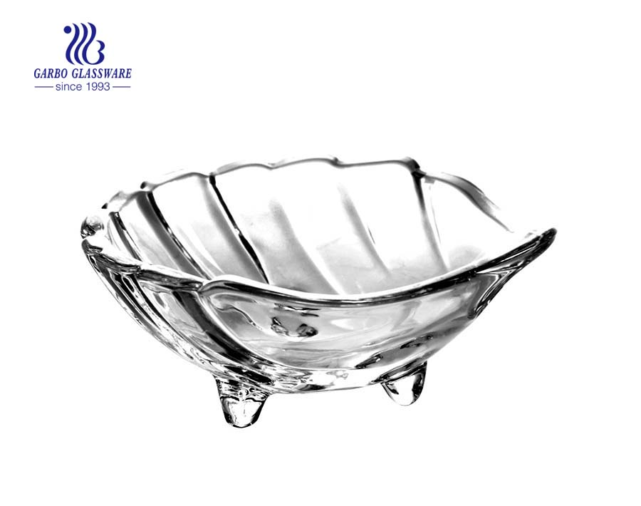 High quality transparent leaf shape glass bowl with irregular shape