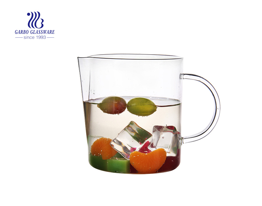 China Hebei pyrex glass factory borosilicate glass jug glas pitcher glass carafe with custom decal