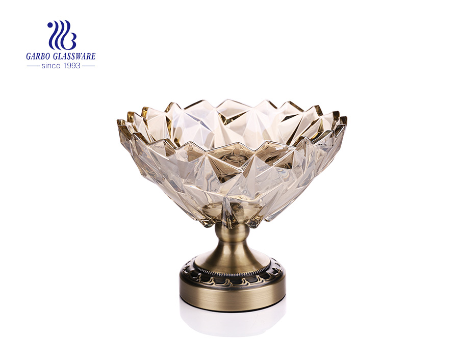 9.57'' Ion Electroplated Glass Bowl for Fruit Serving with Antique Gold Metal Pedestal