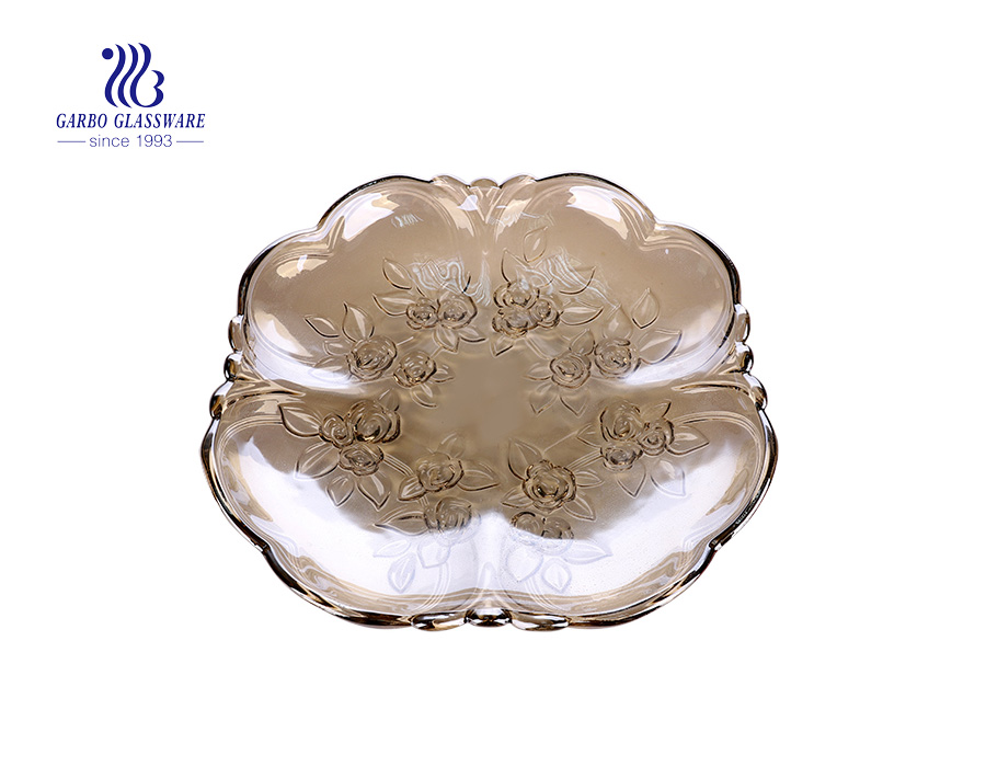 14.17'' Champagne Color Painted Glass Fruit Plate for Serving
