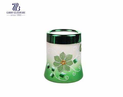 Großhandel billig gefrostet farbig und Hand machen Malerei 550ml Glas Vorratsglas