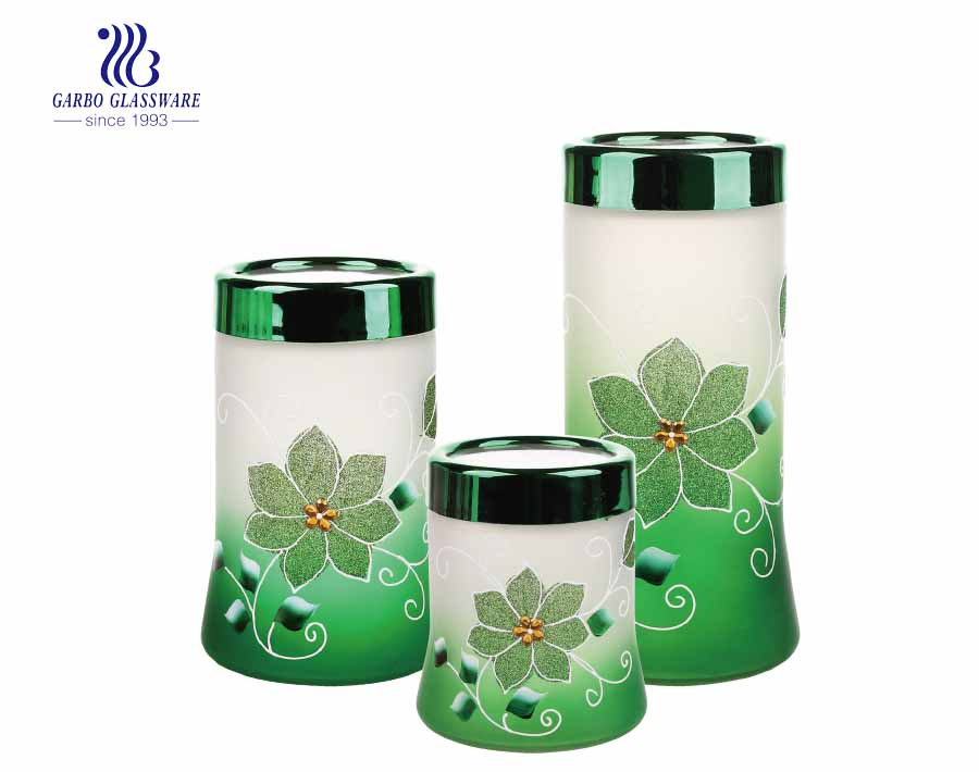 Wholesale cheap frosted colored and hand make painting 550ml glass storage jar