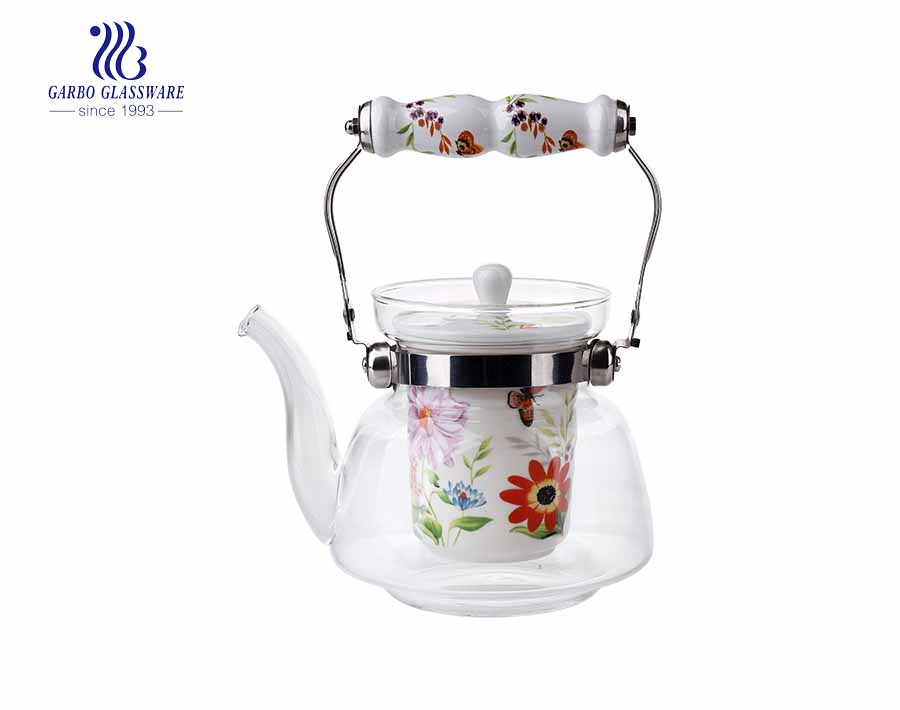 Customized Logo 1L ceramic infuser pyrex glass teapot with ceramic handle