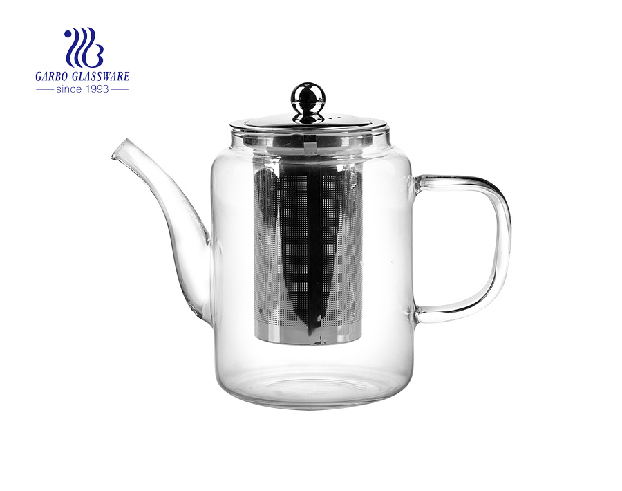 Pyrex glassware heat resistant glass tea pot with 304 steel filter