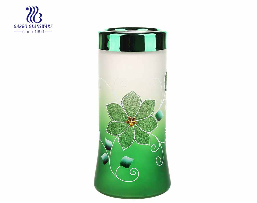 High end hand made painting frosted glass storage jar set