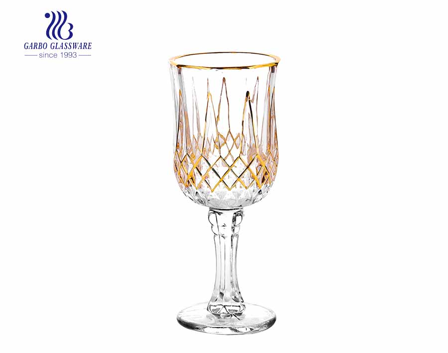 5.6oz crystal engraved cut glass cup with stem and gold rim