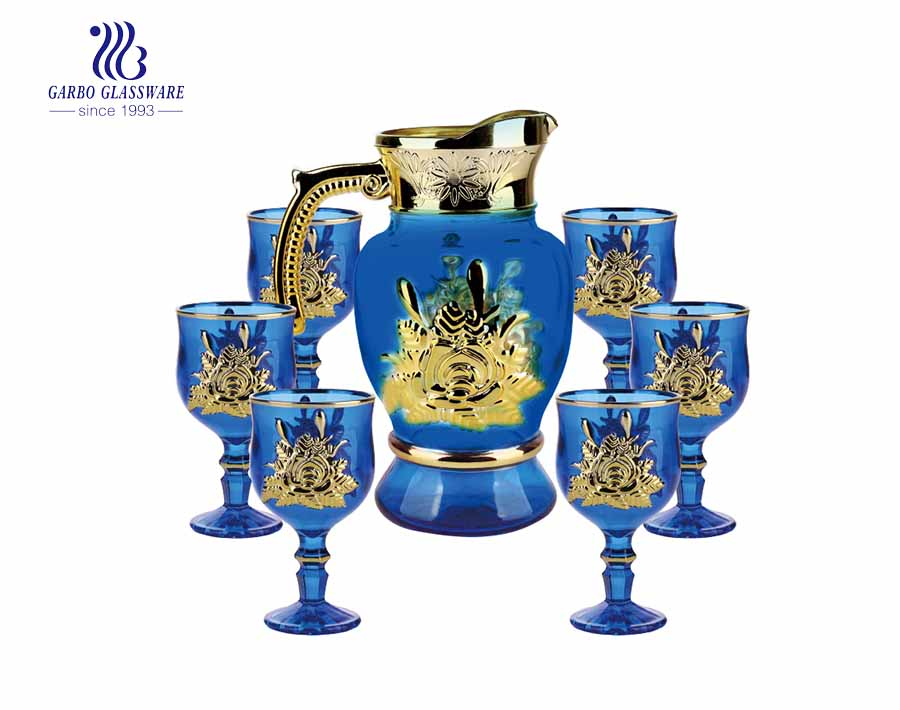 7PCS Golden Water Glass Jug with fish design cups set