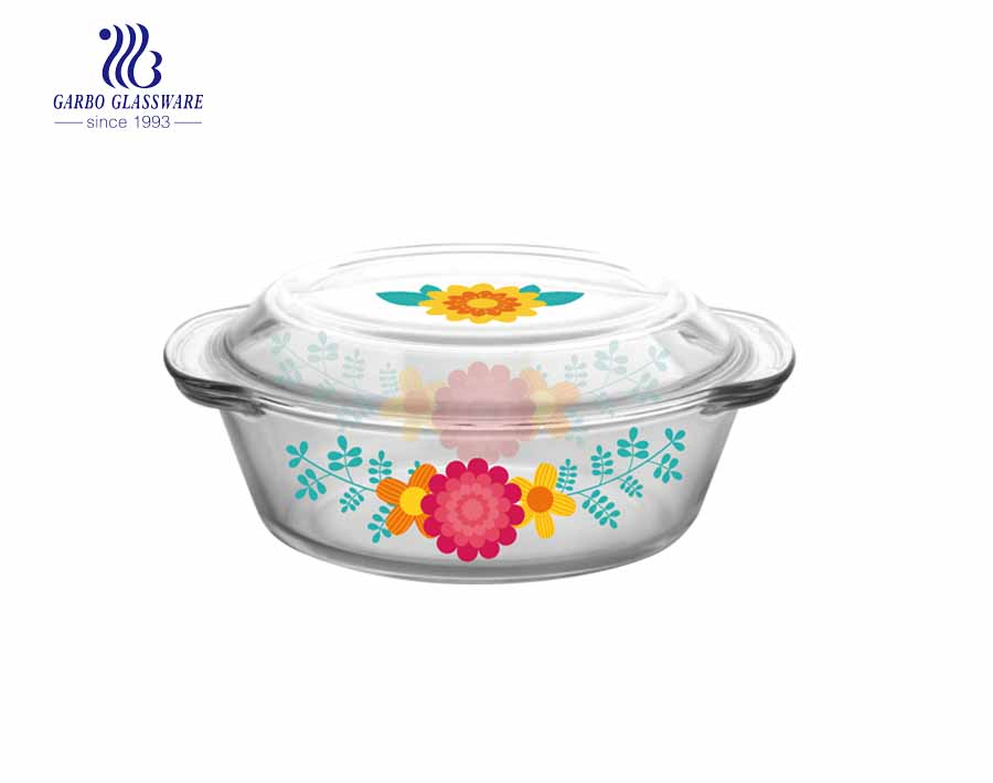 1Liter OEM Factory fancy decal pyrex glass casserole for mircowave using