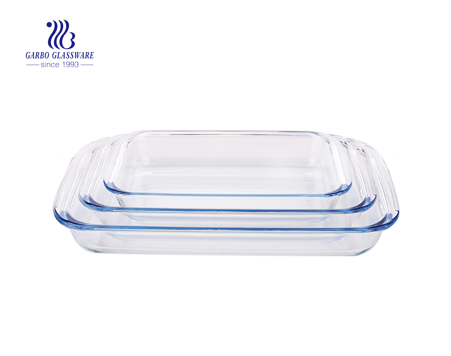 3pcs Cheap microwave oven using rectangle glass baking dish set with PP cover