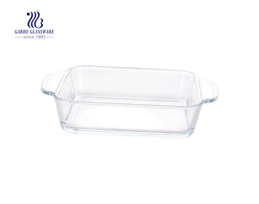 Großhandel billig Hitzebeständigkeit Rechteck Pyrex Glas Auflaufform für Lebensmittel wärmer