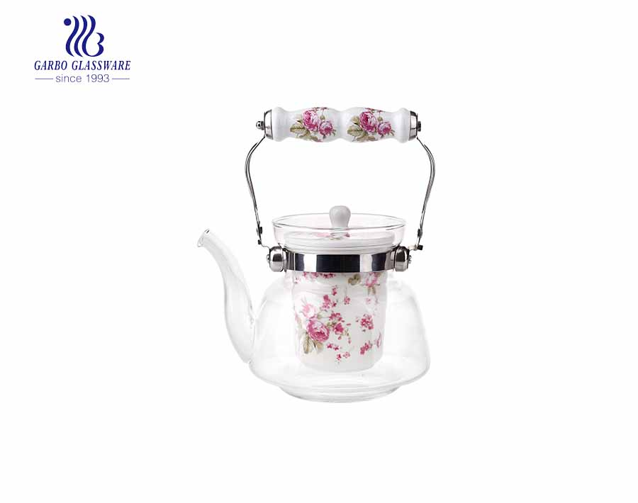 Customized decal logo 1L pyrex glass teapot with ceramic infuser