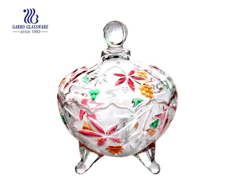 5.7 inch wholesale classic glass candy sugar jar for home use