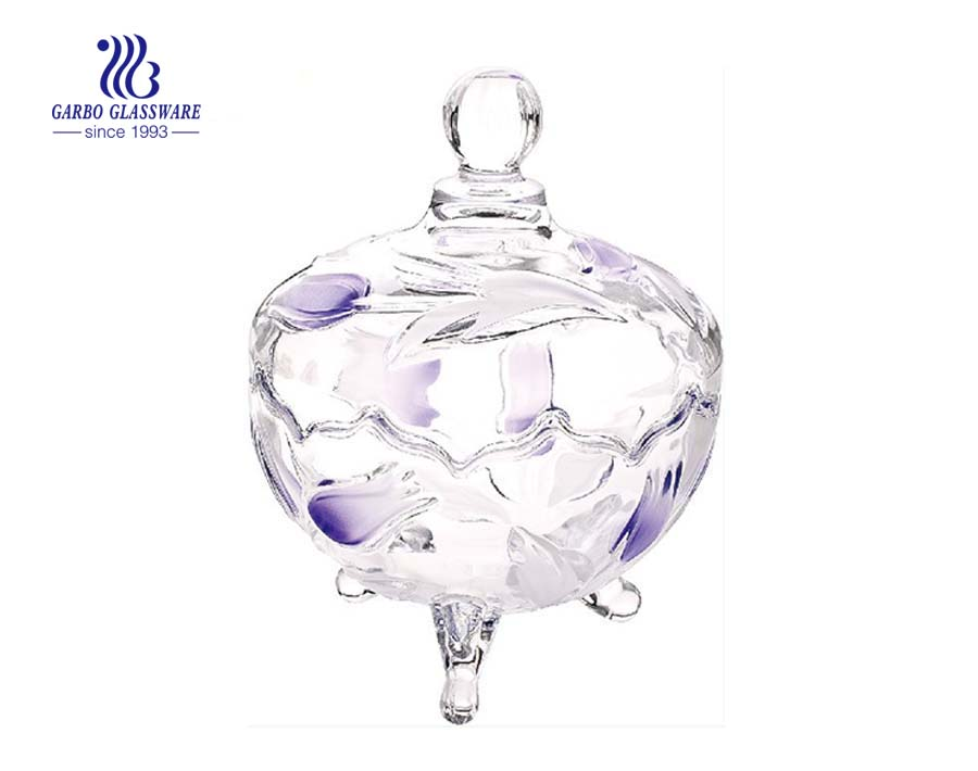 High quality engraved glass candy jar honey glass jar with lid