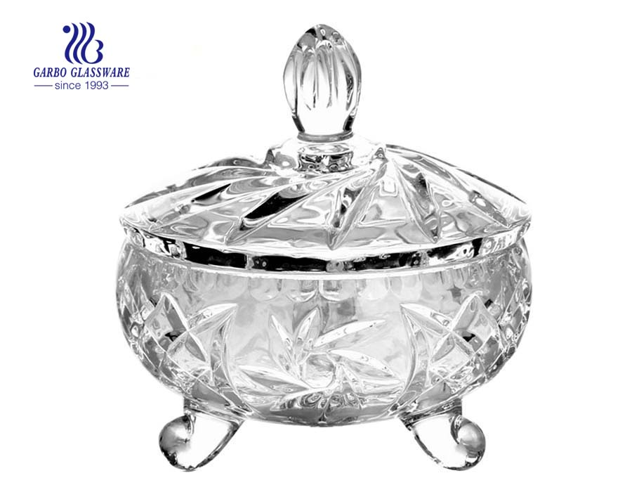4 Inch Crystal Glass Candy Jars with lid Candy Storage Boxes
