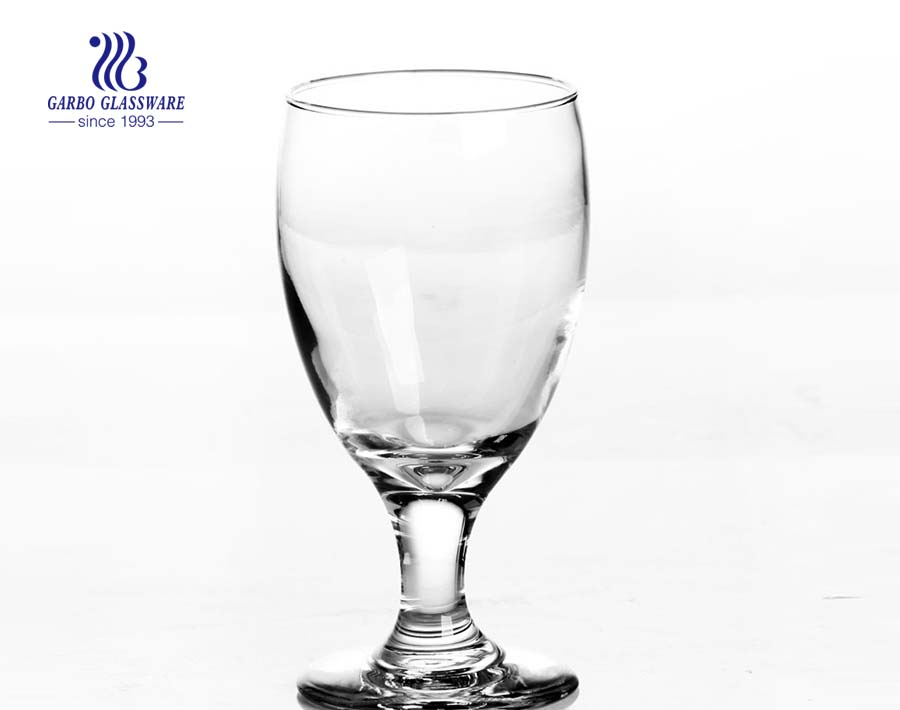 Glass wine stemmed goblet for red wine drinking