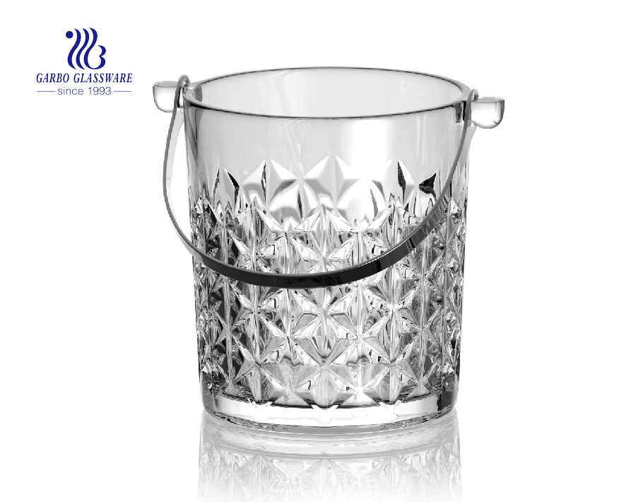 Glass ice bucket with stainless steel holder for bar