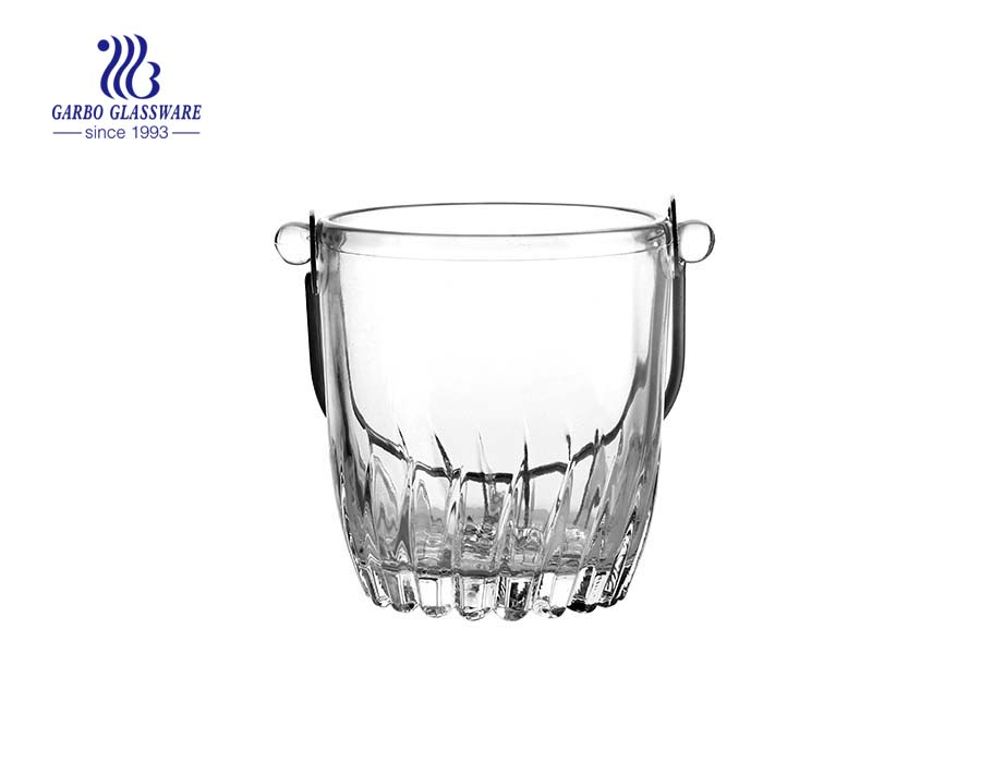 Clear high color quality glass ice bucket with steel holder