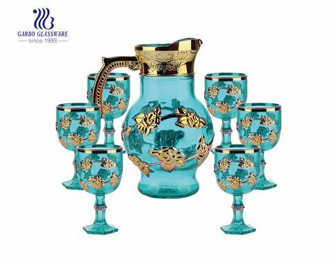 Set von 7 Stück lila plattierten Wasserglaskrug mit Griff und Trinkglas