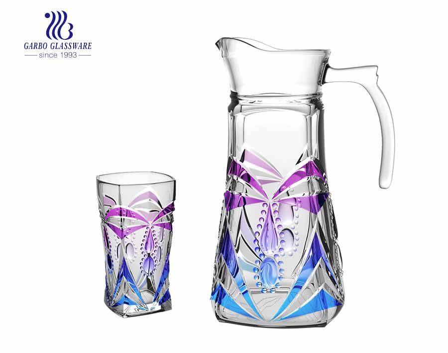 Set of 7pcs Purple Plated Water Glass Pitcher with Handle and Drinking Glasses