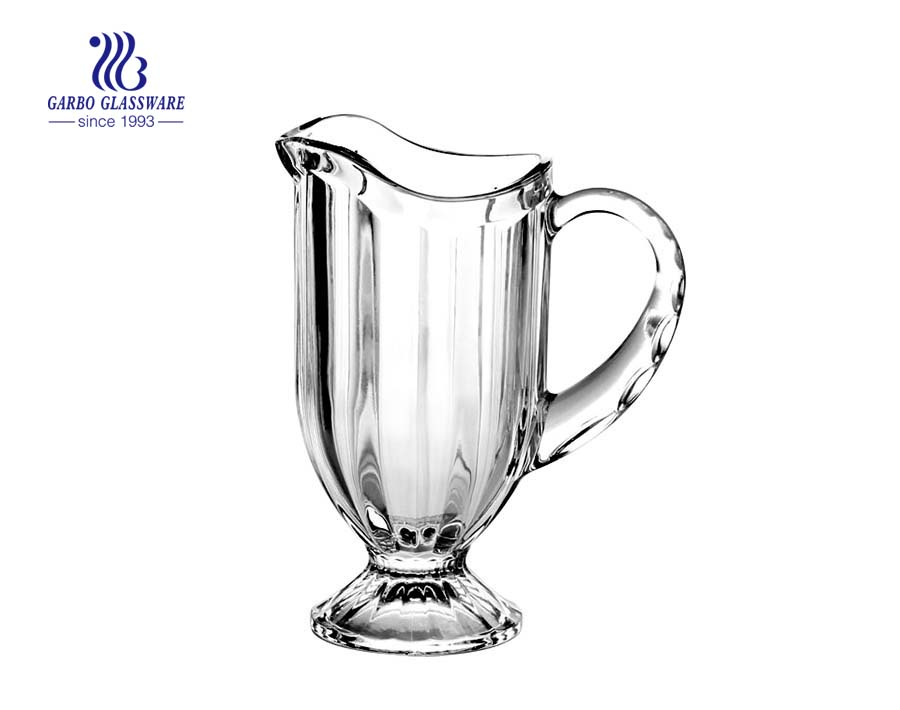 1L classic glass pitcher in stock embossed glass jug
